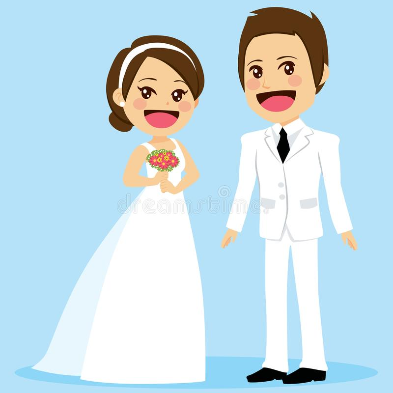 Wedding Bride And Groom. Young cute wedding bride and groom standing posing looking at front with blue background royalty free illustration
