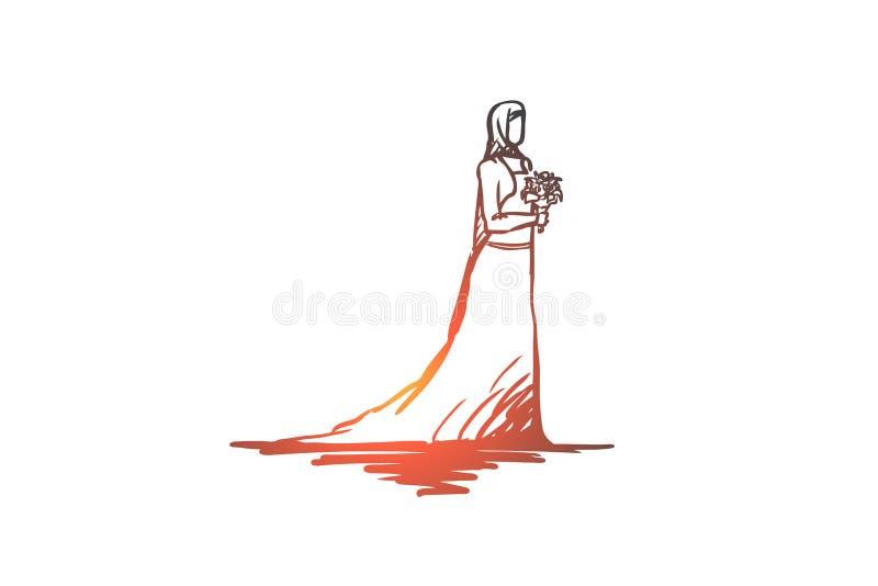 Wedding, bride, muslim, arabic, islam concept. Hand drawn isolated vector. royalty free illustration