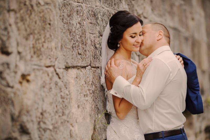 Wedding bride near the castle architecture stock photos