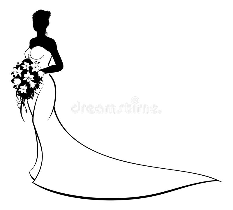 Wedding Gown Clip Art: Wedding Bride Silhouette Holding Flowers Stock Vector