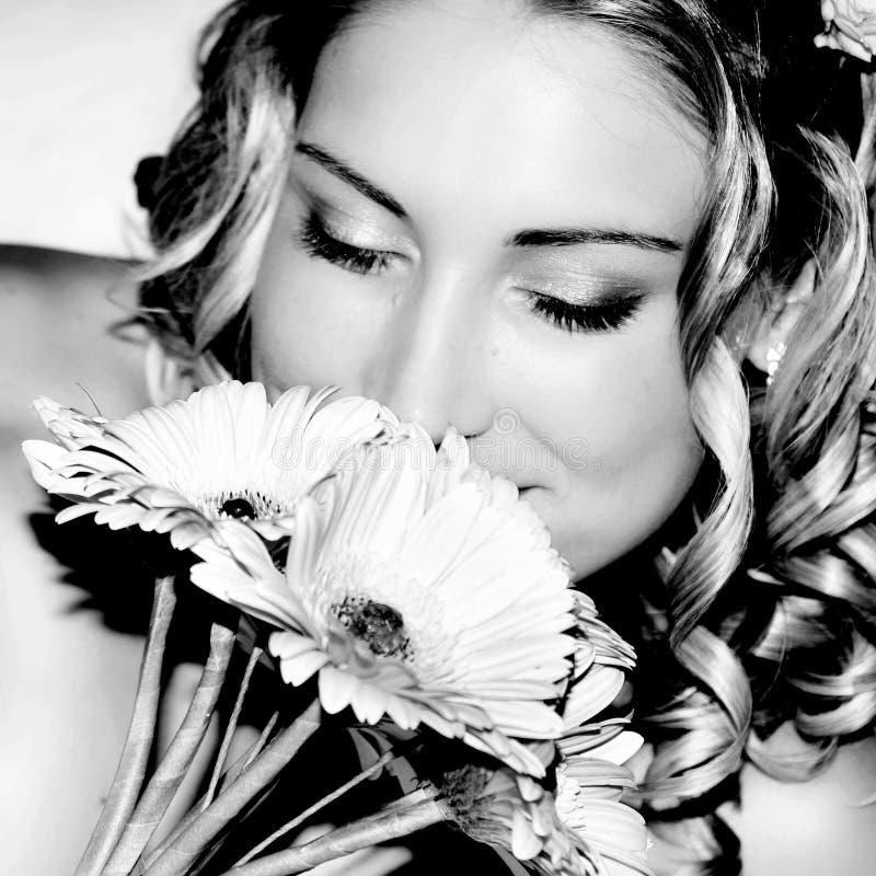 Wedding Bride smelling stock image