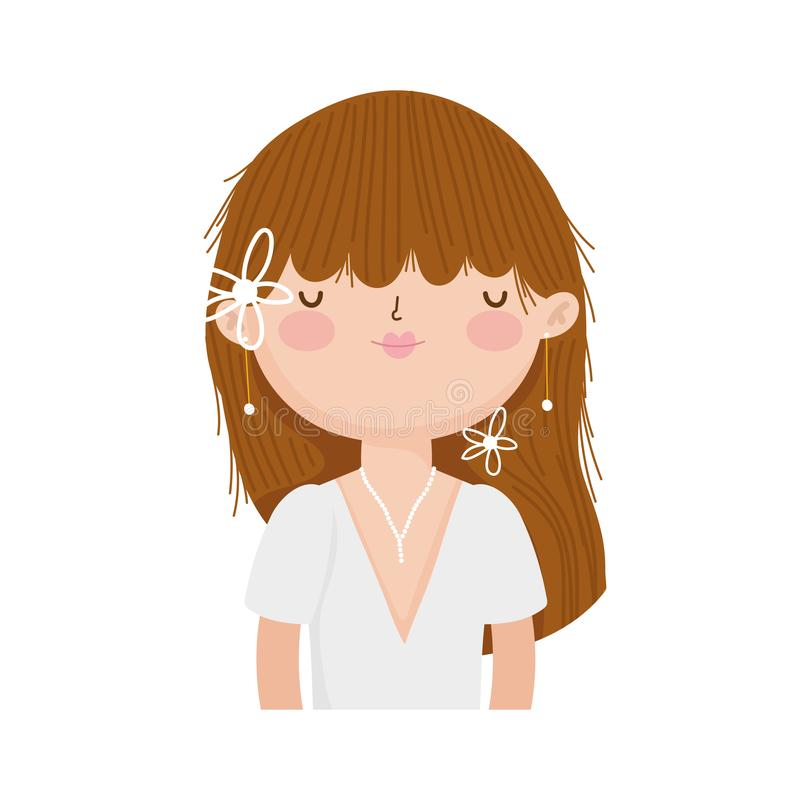 Wedding bride woman elegant dress cartoon character portrait stock illustration
