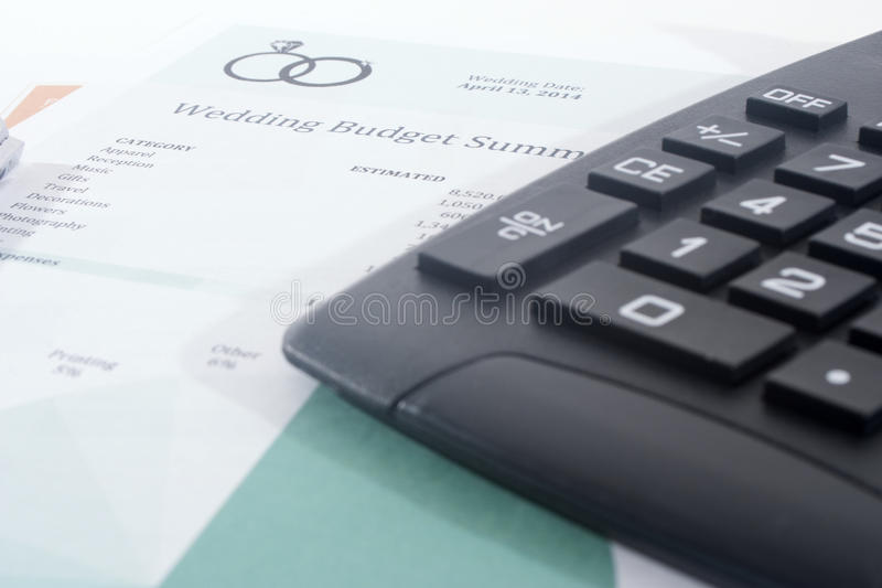 Wedding Budget With Calculator And Pen Stock Image  Image Of