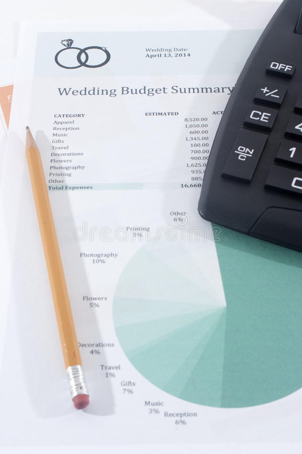 Wedding Budget With Calculator And Pencil Stock Image ...