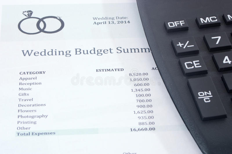Wedding Budget With Calculator Stock Image  Image Of Numbers List