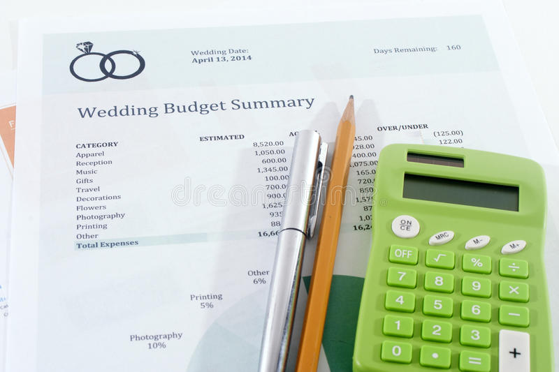 Wedding Budget With Green Calculator Stock Photo  Image Of
