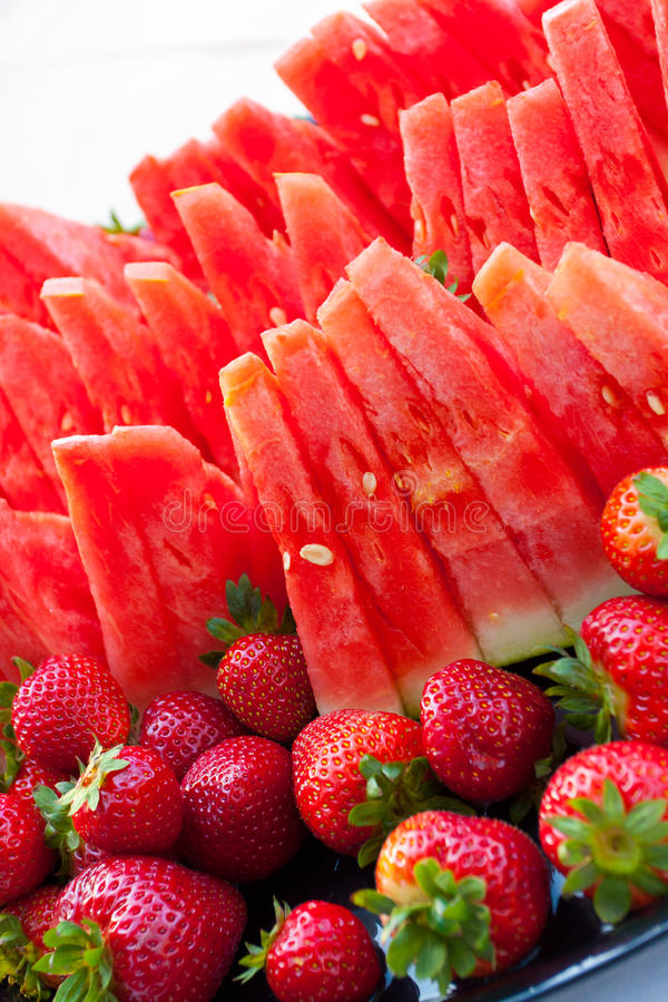 Wedding Buffet Food. Wedding watermelon fruit platter at a buffet stock photography