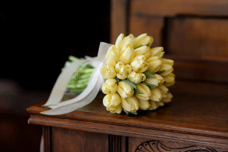 Wedding bunch of yellow tulips royalty free stock photography