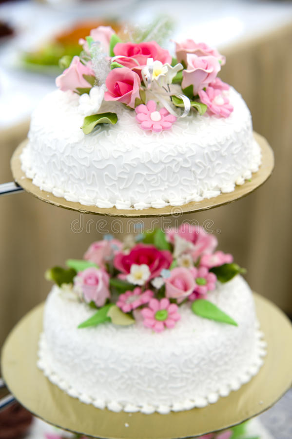 Wedding cake. A wedding cake sits nicely before being cut and eaten royalty free stock photo
