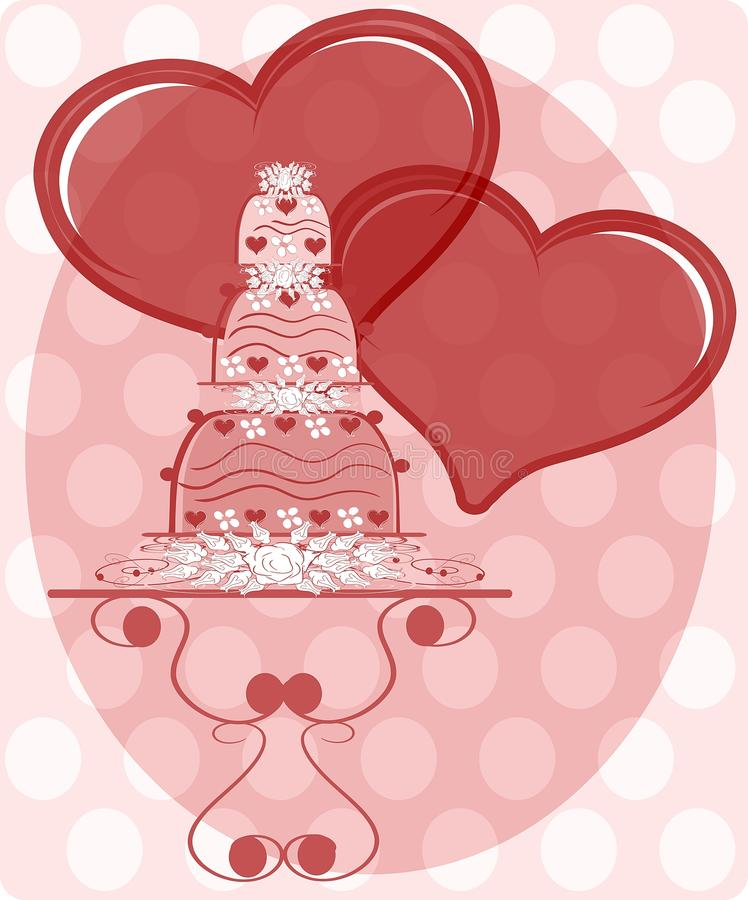 illustration with decorated Wedding cake and heart vector illustration