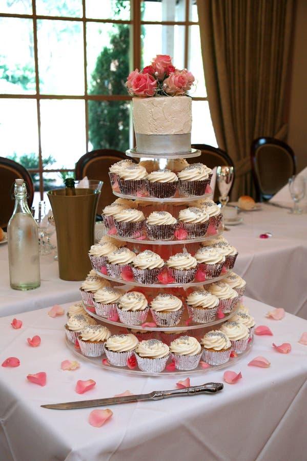 Wedding cake. Created using individual cupcakes stock photography