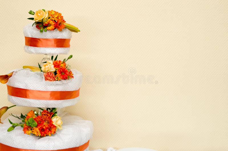 Wedding cake. With copyspace on wallpaper wall stock images