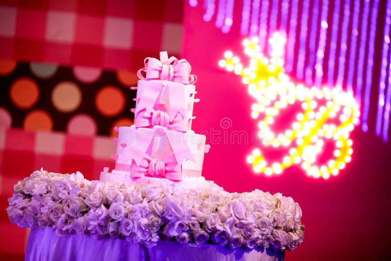 Wedding Cake. A three tiered wedding cake royalty free stock photos