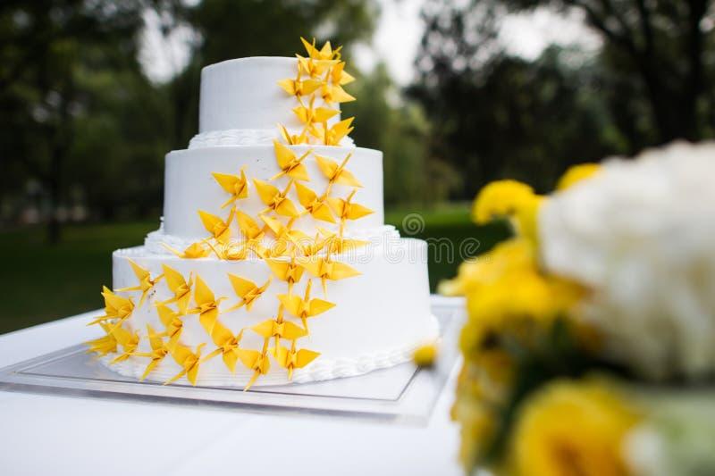 Wedding cake. Wedding yellow Qianzhi stock images