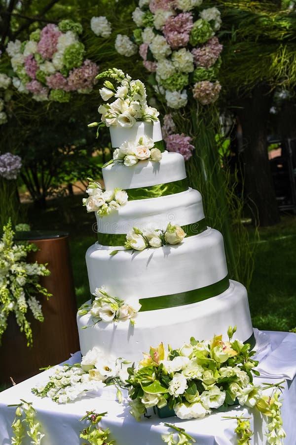 Wedding Cake. A five tiered wedding cake stock image