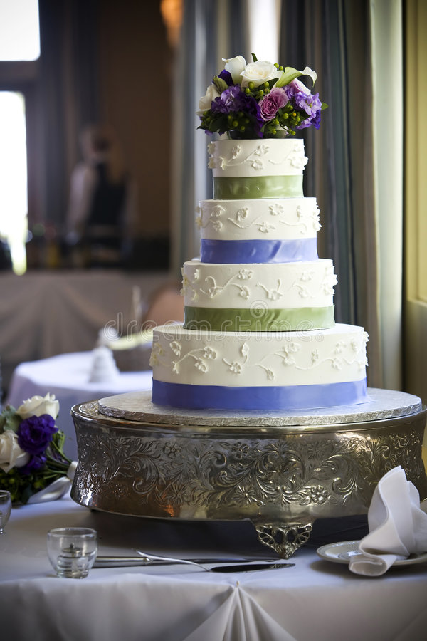 Wedding Cake. With flower topper stock photography