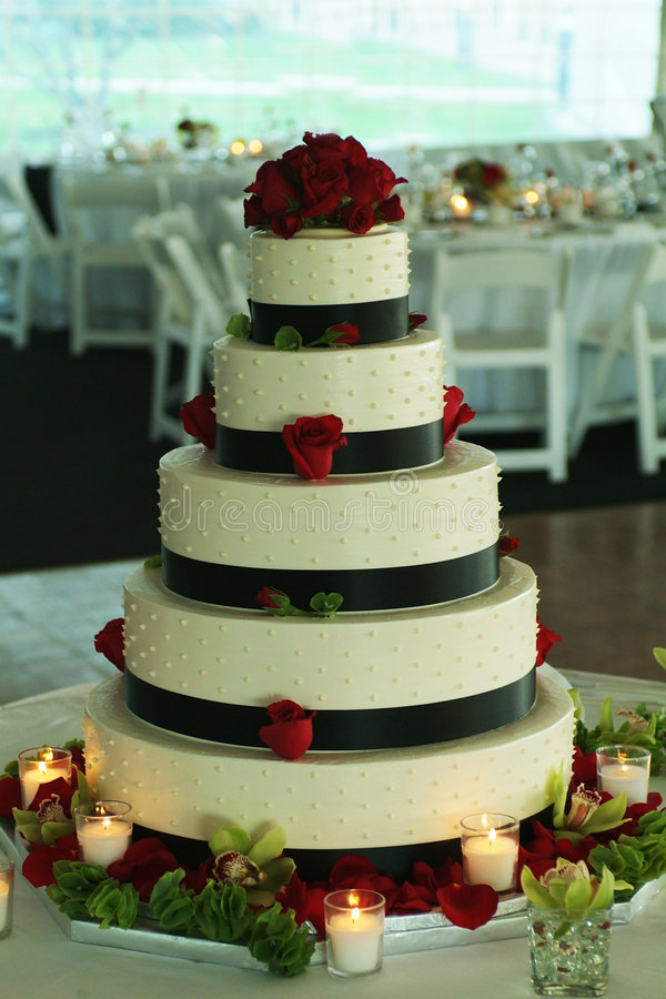 Wedding Cake. At a tent reception stock photography