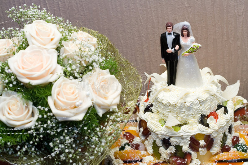 Wedding cake. Higher part of the wedding cake stock photos