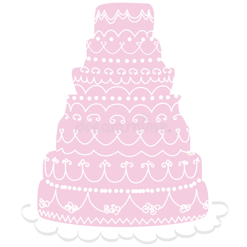 Wedding cake. Pink cake white icing decoration. Also available in creamy white color in my portfolio vector illustration
