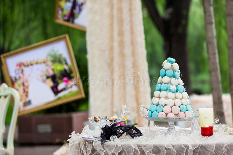Wedding Cake. Beautiful wedding cakes at an outdoor wedding party stock images