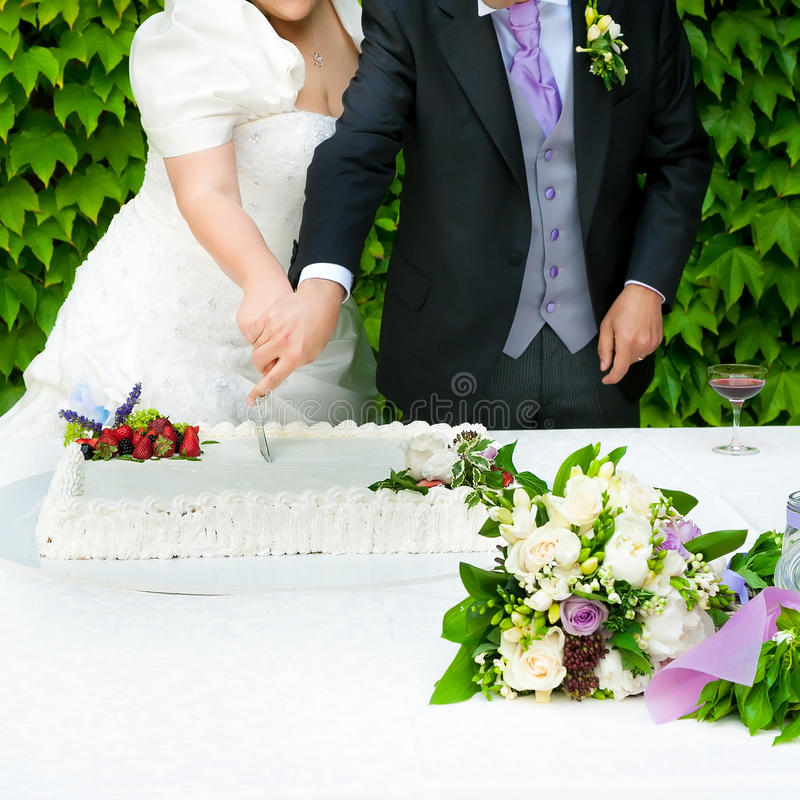 cut wedding cake royalty free stock photos