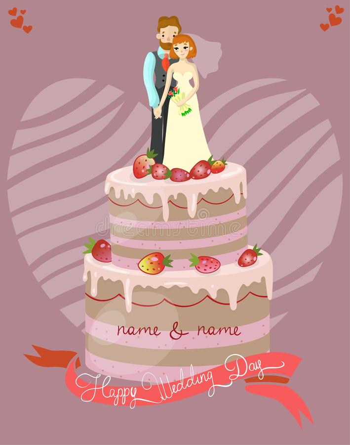 Wedding cake with bride and groom vector illustration, greeting card vector illustration