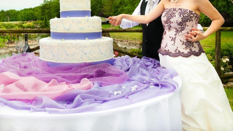 bride and groom cutting wedding cake stock photo