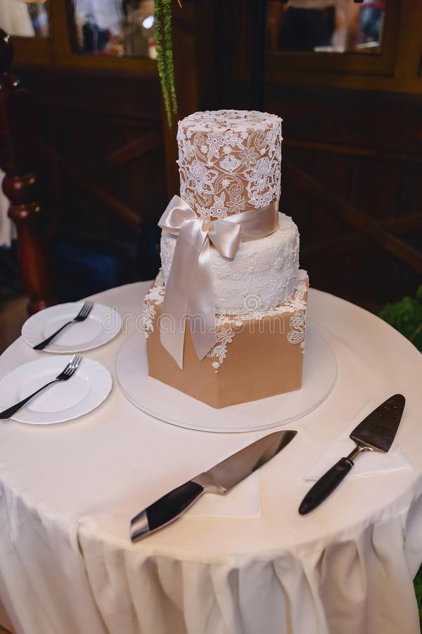 Wedding cake for celebrating marriage and holding a banquet stock image