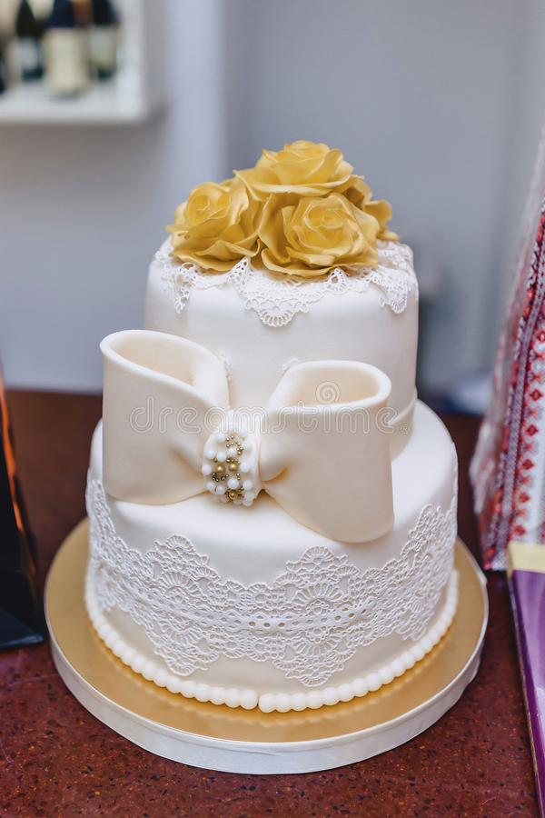 Wedding cake for celebrating marriage and holding a banquet stock photo