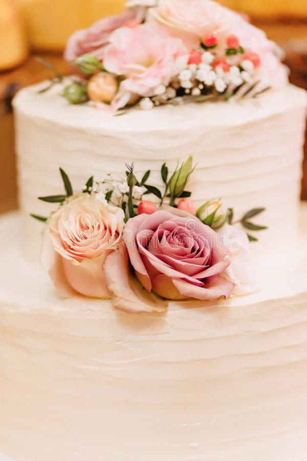 Wedding cake for celebrating marriage and holding a banquet stock images