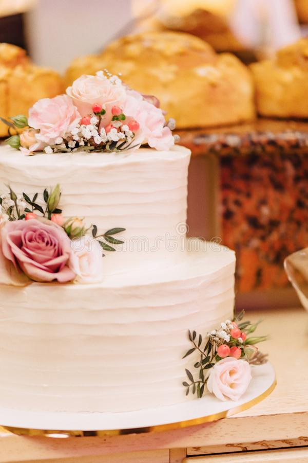 Wedding cake for celebrating marriage and holding a banquet royalty free stock image