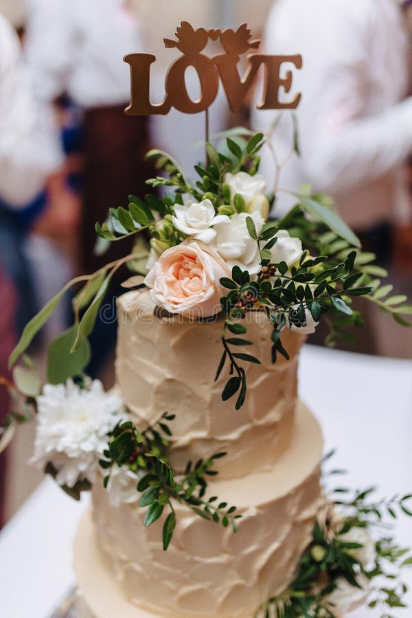 Wedding cake for celebrating marriage and holding a banquet royalty free stock photography