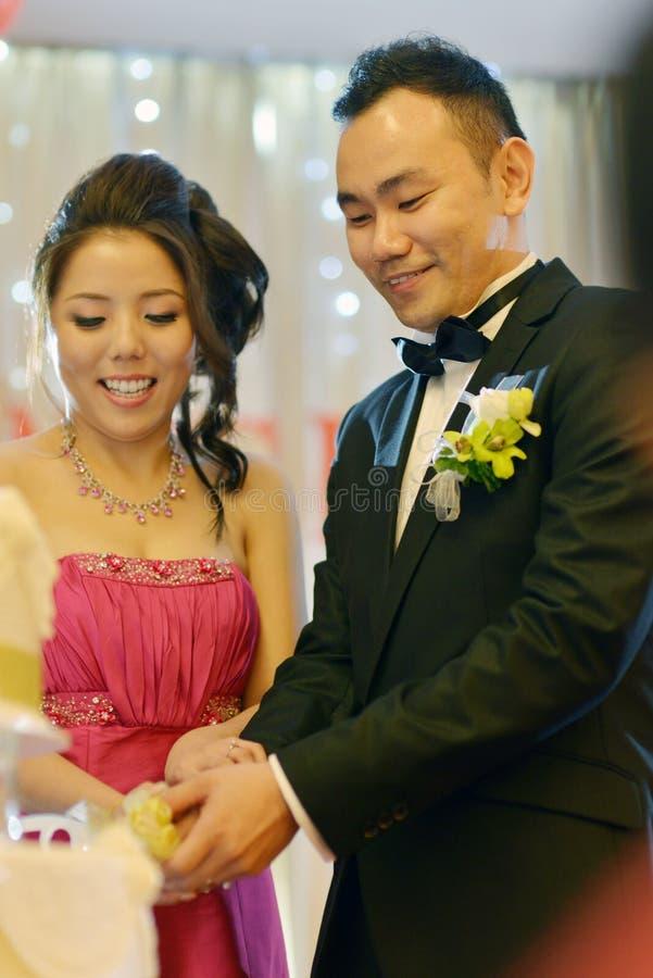 Wedding cake cutting royalty free stock photo