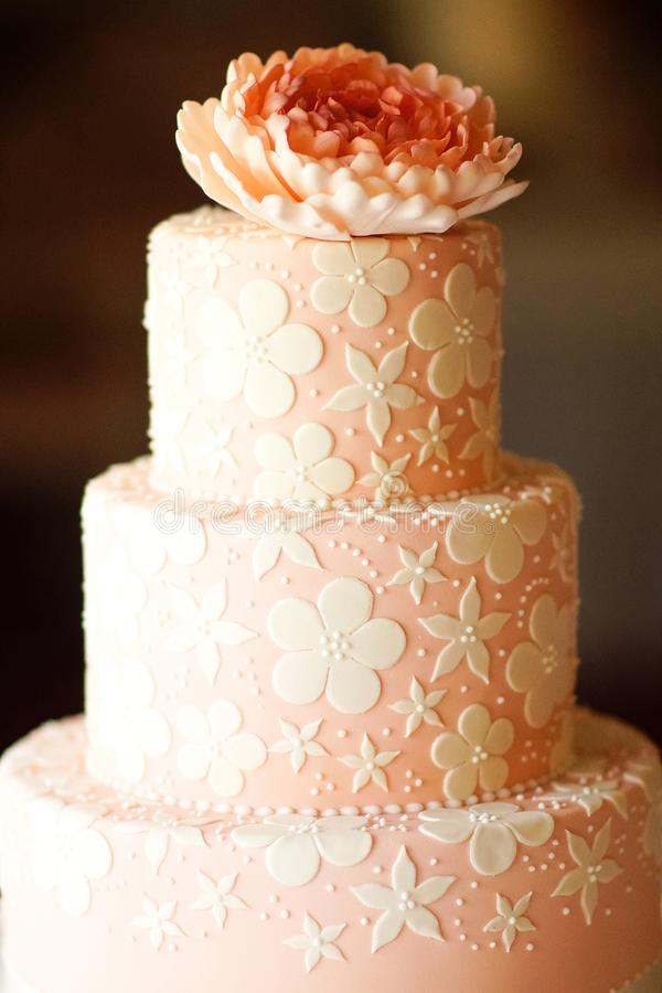 wedding multi cake pink color stock images