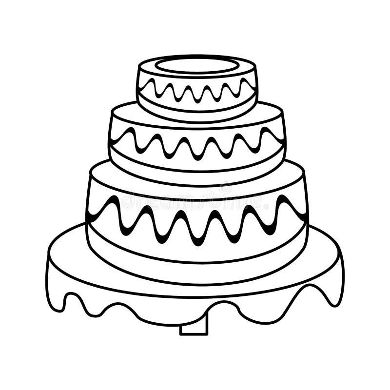 Wedding Cake Dessert Outline Stock Illustration Illustration Of