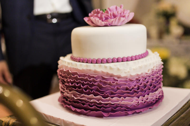 Wedding cake. With figures of flowers royalty free stock photography