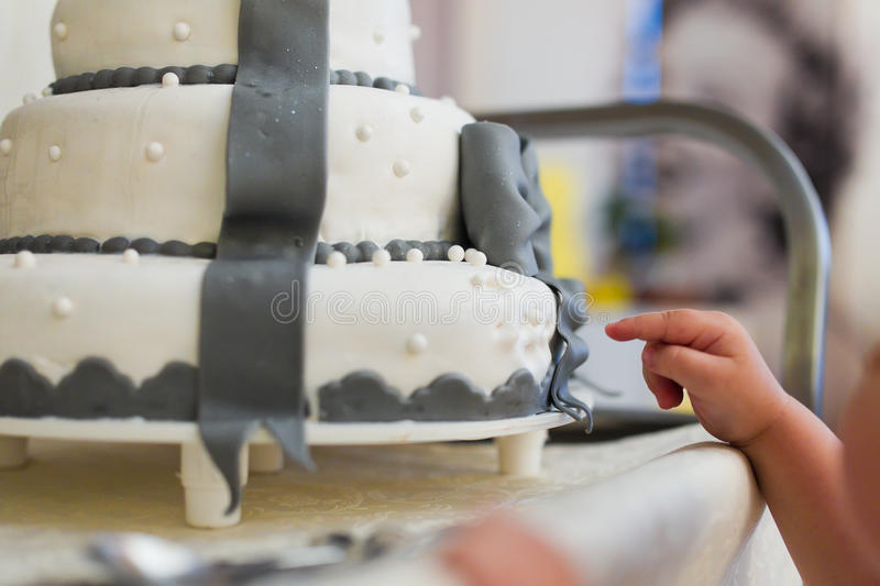 Wedding cake. With figures of ribbon stock images