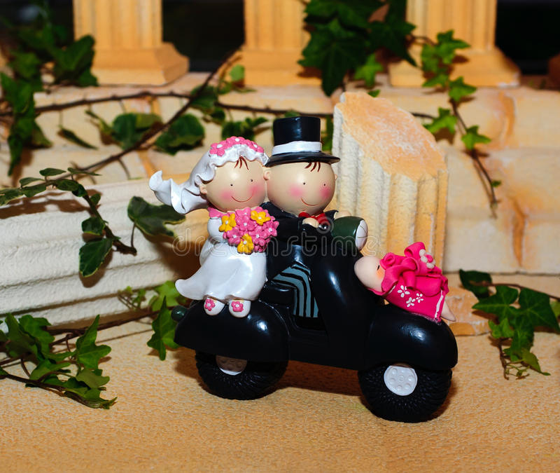 Wedding cake figurines stock photos