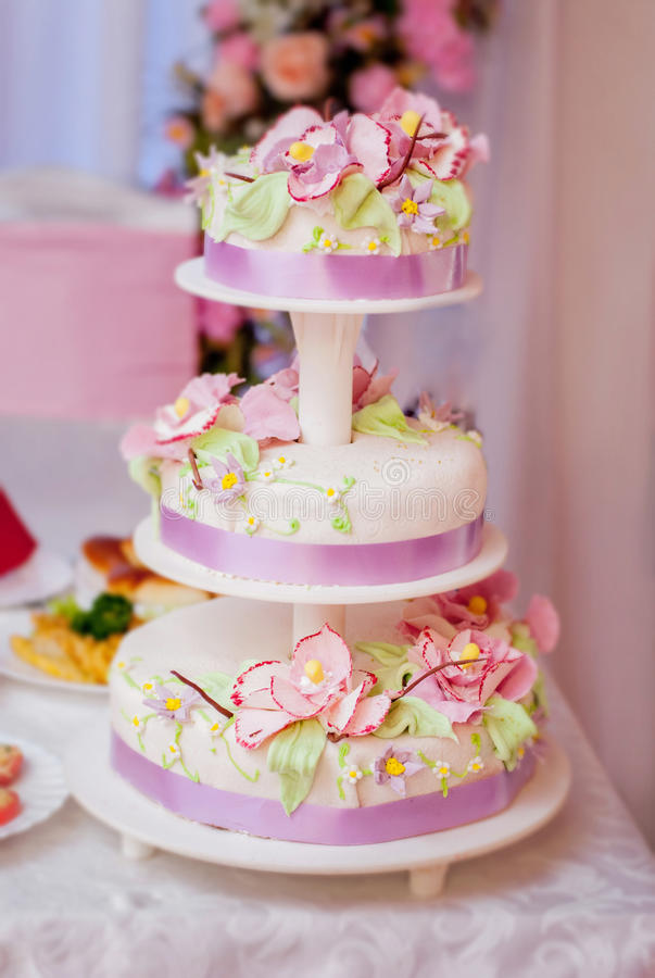 Wedding cake. With flowers. Ceremony royalty free stock images