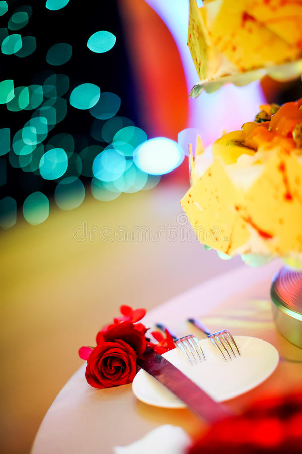 Download Wedding Cake and forks stock photo. Image of flower, date - 29362754