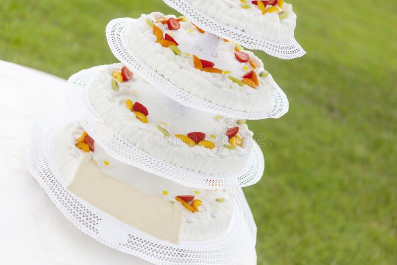 Wedding cake with fruit stock image
