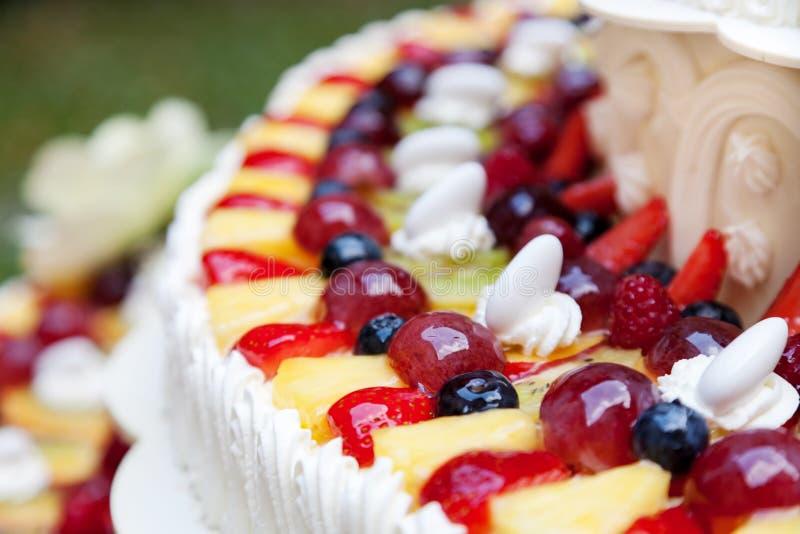 Wedding cake with fruits royalty free stock photos