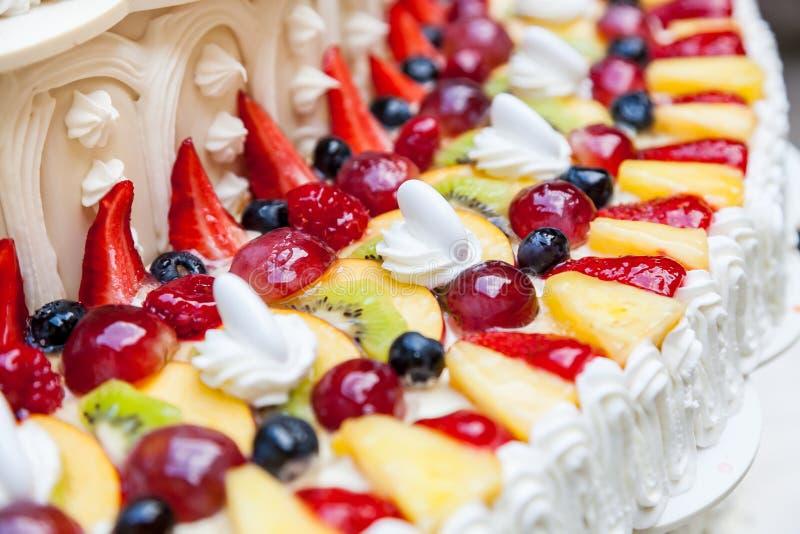 Wedding cake with fruits royalty free stock photo
