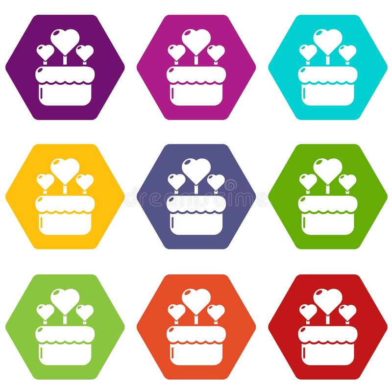Wedding cake icons set 9 vector vector illustration