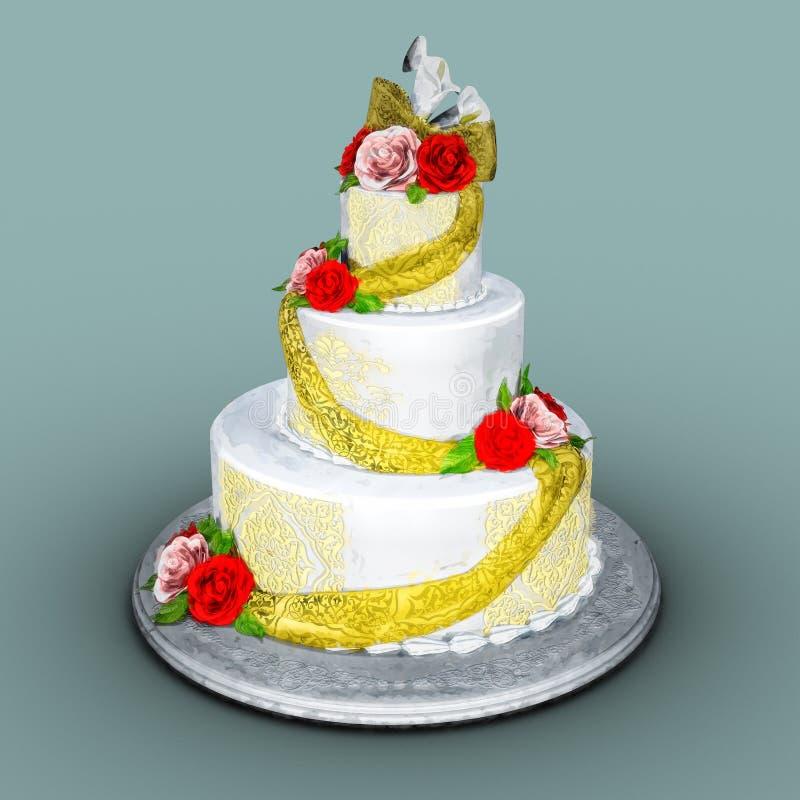 Wedding Cake Illustration. Painted style digital illustration of a wedding cake stock photos