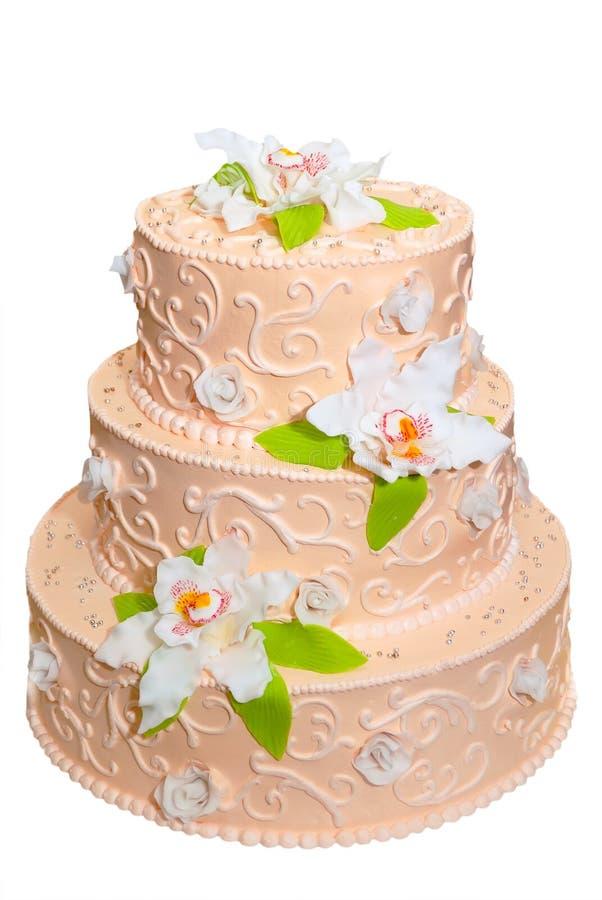Wedding cake. Isolated over white. Wedding cake. Isolated on the white background royalty free stock photos