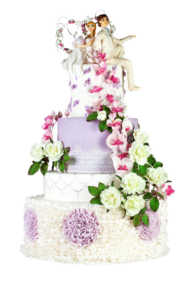 Wedding Cake Isolated On White Background stock photo
