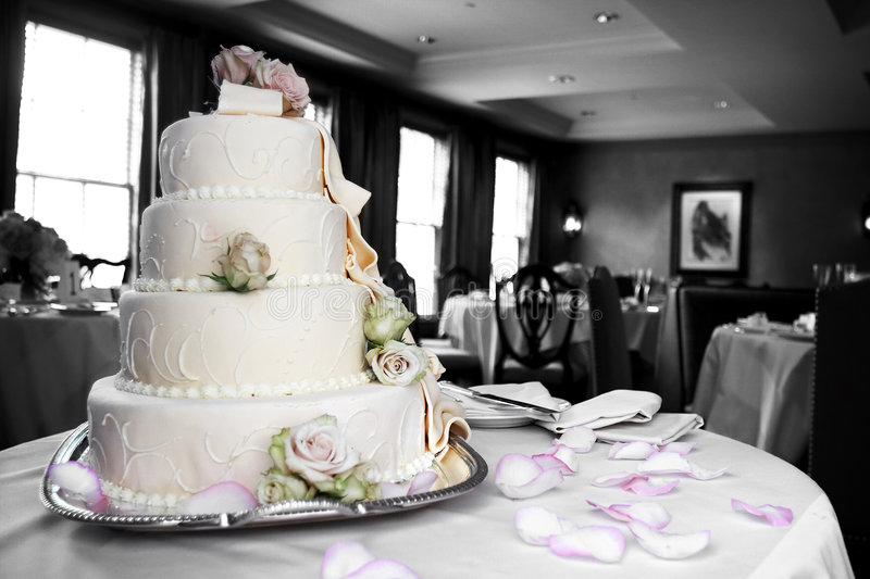 Wedding cake in mixed color and black and white royalty free stock photos
