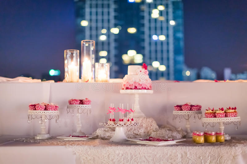 Wedding cake at night. Beautiflu wedding cake at wedding party at night stock images