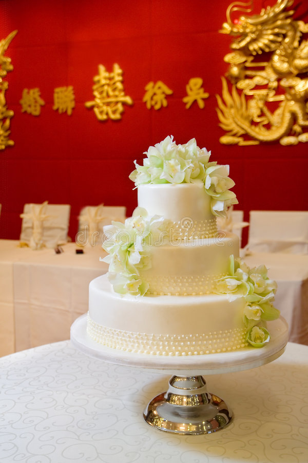 Wedding Cake with Orchids stock photography